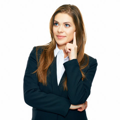 portrait of thinking business woman isolated over white