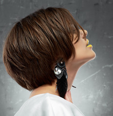 woman face. bob haircut. profile view. beauty face . short hair