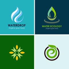 eco water drop logos