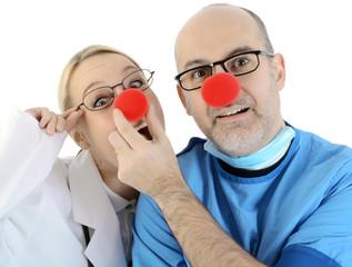 Arzt und Ärztin als Klinik Clowns