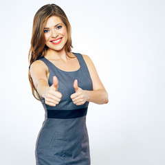 Thumbs Up. Business woman show thumbs