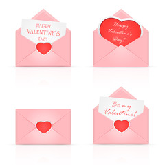 Pink envelopes with heart