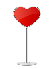 Red heart sign