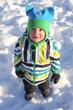 lovely little child in winter outdoors