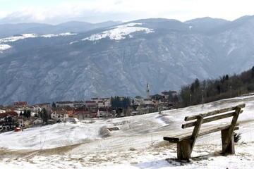 mountain town of Tonezza and a bench