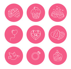St. Valentine Day icons, thin line style, flat design