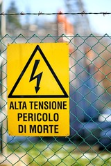 signboard of danger high voltage