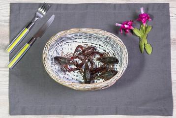 crayfish in wicker basket