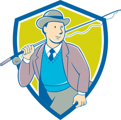 Vintage Fly Fisherman Bowler Hat Shield Cartoon