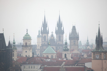 Tyn Church and Old Town Hall in Prague, Czech Republic.
