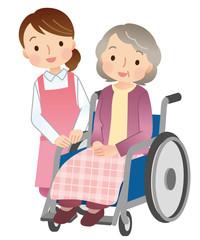 車椅子に乗る高齢者 介護