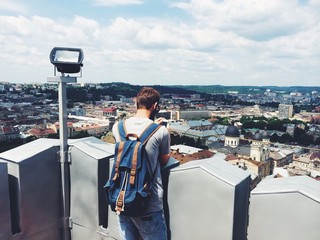 A tourist on a hight tower