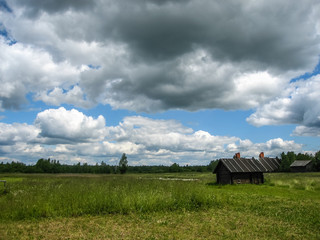 Landscape with village house in Palekh, Vladimir region, Russia