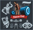 Bodybuilder with a barbell - vector set - 76472475