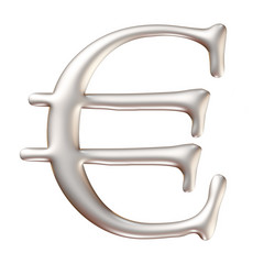 3D Silver Euro sign isolated on white 3D illustration.