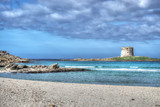 La Pelosa beach under a dramatic sky