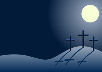 three crosses on the hill of Calvary, vector Golgotha