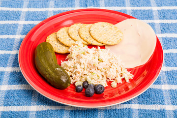 Chicken Salad with Cheese and Crackers