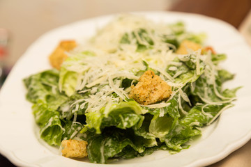 Croutons on Traditional Caesar Salad