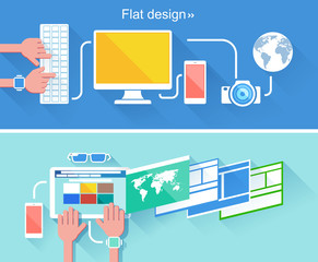 Set of flat design concepts for business. Vector