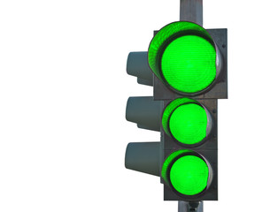 traffic light with three green lights on white
