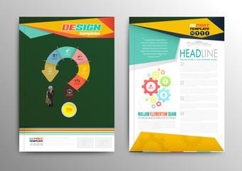 Vector brochure template design business concept question mark.