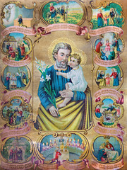 catholic image of st. Joseph with the scenes from the life