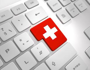Schweizer Flagge auf Tastatur