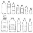 Vector Set of Sketch Plastic Bottles - 76475032