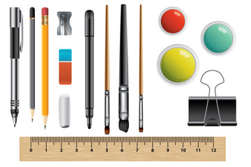 Vector set of school supplies, isolated