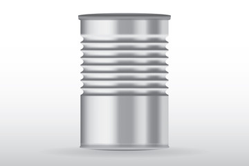 Tin can, ribbed metal tincan vector