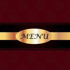 Maroon & Black Menu Cover with a Gold Plate