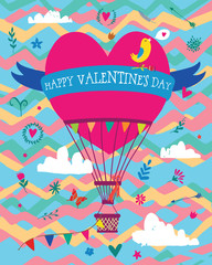 Valentines card baloon