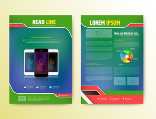 Abstract Vector Brochure Template with smartphones.
