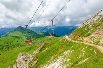 Italian Dolomites Mountains landscape with cable car, Italy