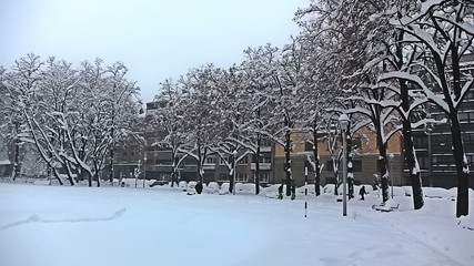 Park in the center of Zagreb while heavy snowing