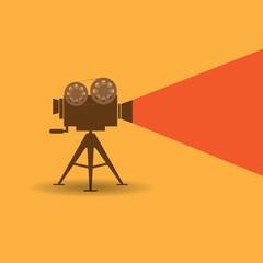 Retro cinema icon on orange background