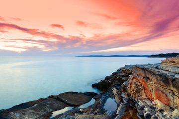 Sunrise over the sea near Rt Kamenjak, Croatia