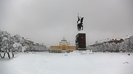 King Tomislav square with statue while heavy snowing, Zagreb