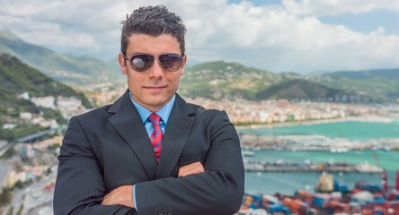 Success Successful Young Businessman Standing Skyline Port