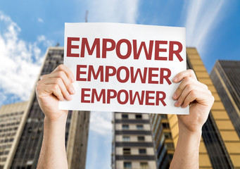 Empower card with a urban background