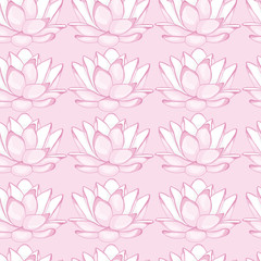 Seamless pink background with white lotus