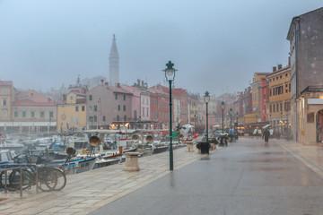 Pouring rain in the Rovinj