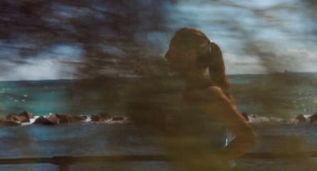 Healthy Exercise Female Woman Running Coastline Sea Ocean Summer