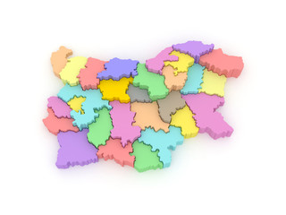 Three-dimensional map of Bulgaria.