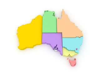 Three-dimensional map of Australia.