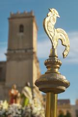 Golden baton. Easter procession in Elche, Alicante, Valencia. Sp