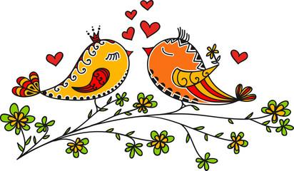 LOVE BIRDS, VALENTINE`S DAY, HEARTS, COLOUR
