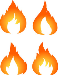 Set of four vector fires isolated on white