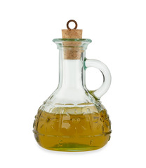 Olive oil in a glass bottle